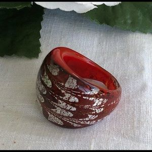 Artisan Hand Blown Glass Ring - Red/Silver